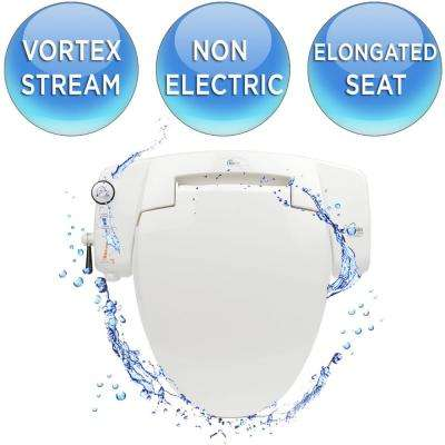Premium Non-Electric Bidet Seat for Elongated Toilets in White