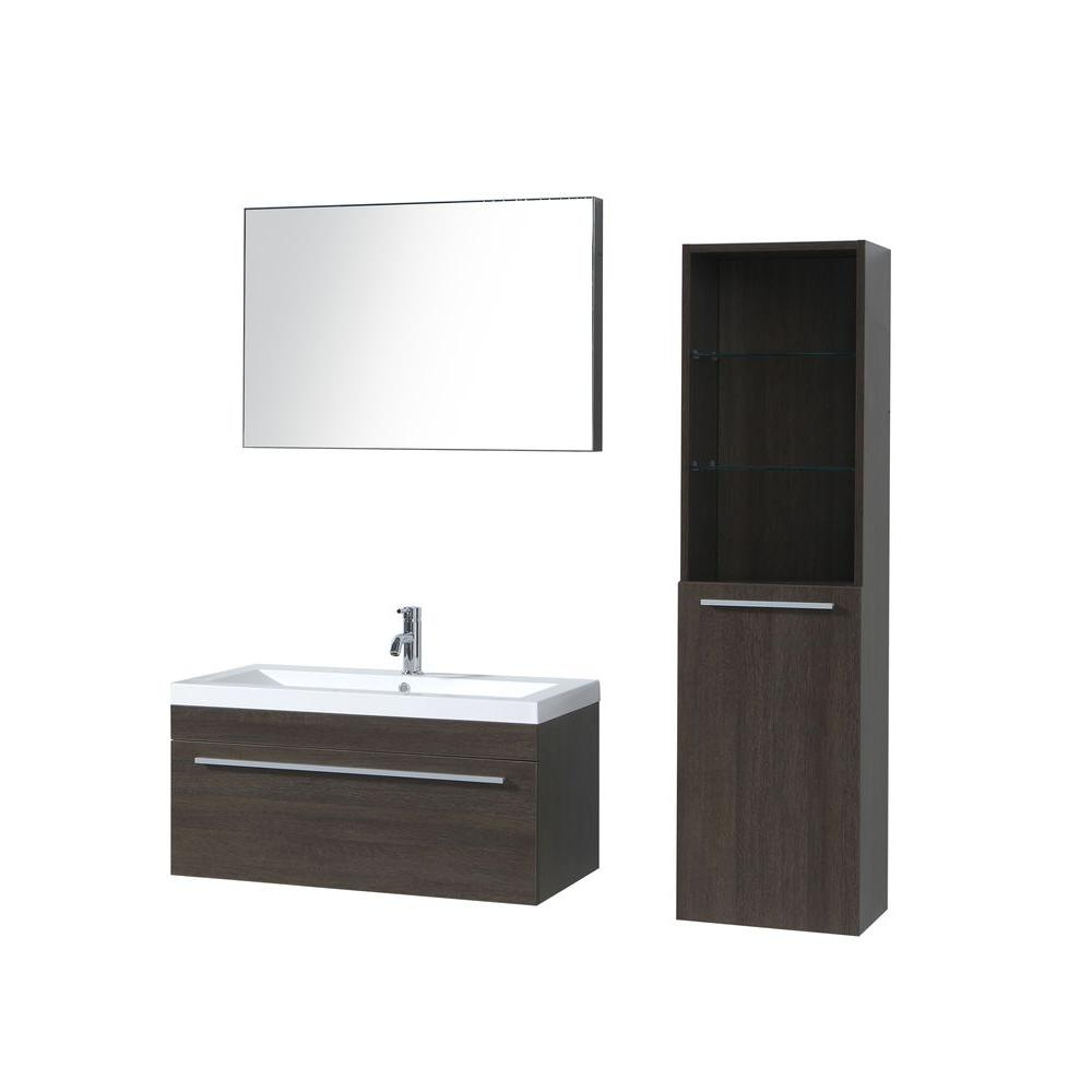 Virtu USA Luna 35-3/7 in. Single Basin Vanity in Alamo with Poly-Marble Vanity Top in White/Side Cabinet and Mirror-DISCONTINUED