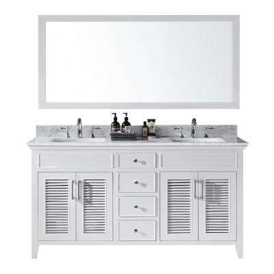 Elise 60 in. W x 22 in. D x 34.21 in. H Bath Vanity in White With White Marble Top With White Basins and Mirror