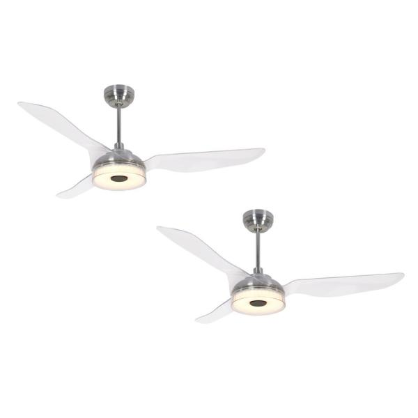Icebreaker 56 in. Integrated LED Indoor Silver Smart Ceiling Fan with Light Kit