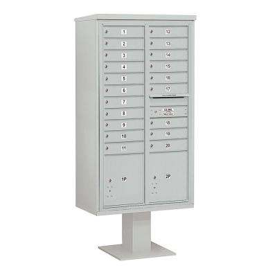 3400 Series Gray Mount 4C Pedestal Mailbox with 20 MB1 Doors/2 PL