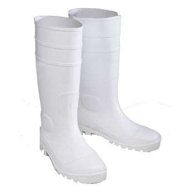 White PVC Plain Toe Boots Size 11