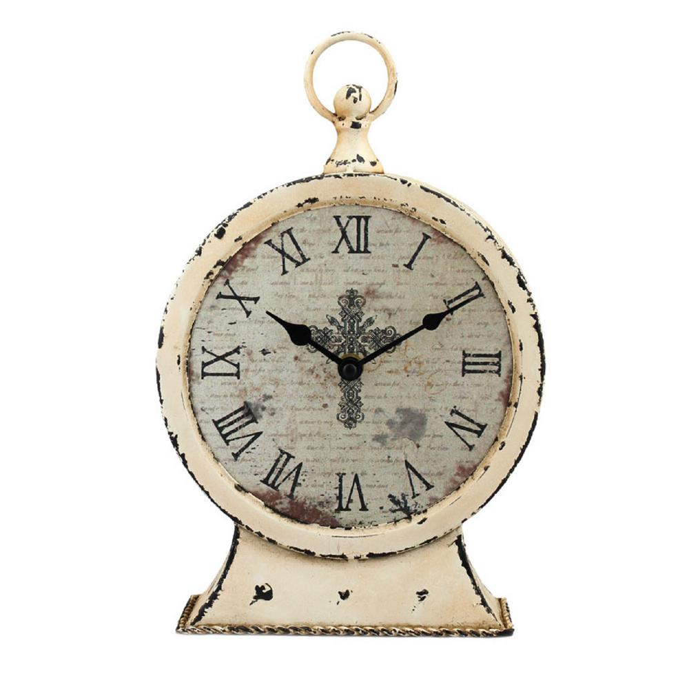 Stonebriar Collection 12.5 In. X 3 In. Faith Round Tabletop Clock