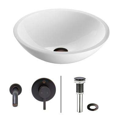 Flat Edged Stone Glass Vessel Sink in White Phoenix with Wall-Mount Faucet Set in Antique Rubbed Bronze