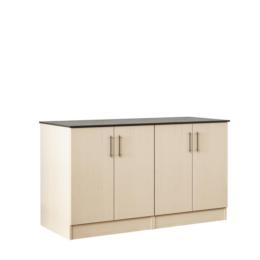 WeatherStrong Miami 59.5 in. Outdoor Cabinets with Countertop 4 Full Height Doors in Sand