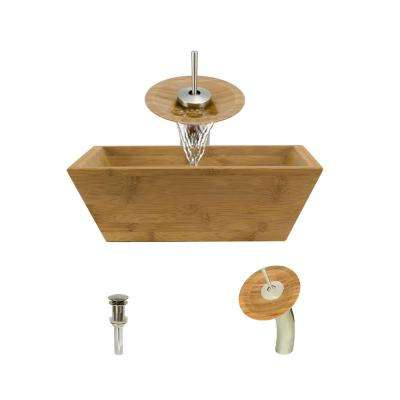 Vessel Sink in Bamboo with Waterfall Faucet and Pop-Up Drain in Brushed Nickel