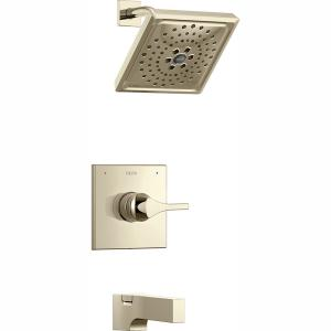 Zura 1-Handle Tub and Shower Faucet Trim Kit with H2Okinetic Spray in Polished Nickel (Valve Not Included)