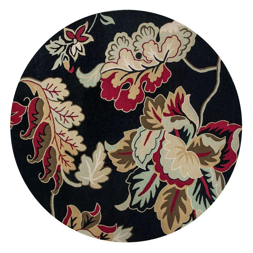 Kas Rugs Floral Overtones Black/Cream 7 ft. 6 in. x 7 ft. 6 in. Round Area Rug
