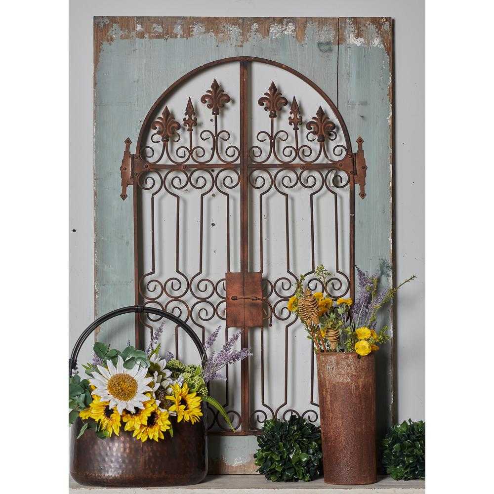 Iron Distressed Brown Scrollwork and Fleur-de-lis Finial Gate Metal Work with