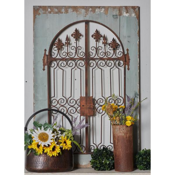 Iron Distressed Brown Scrollwork And Fleur De Lis Finial Gate Metal Work With Wooden Frame