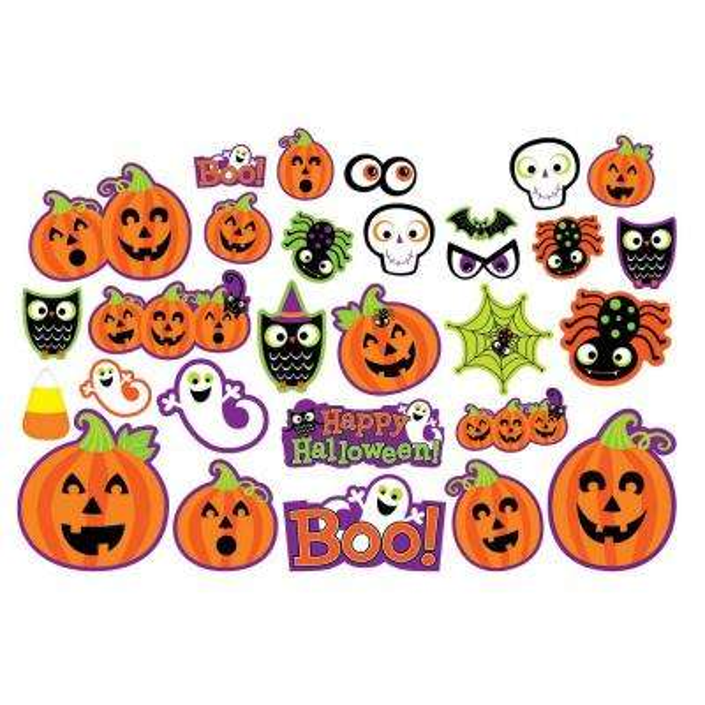 Halloween Cute Character Cutout Assortment (30-Count 2-Pack)