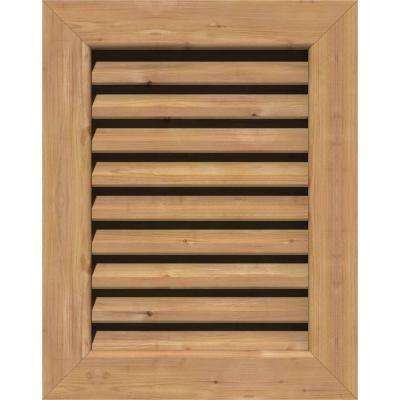 17 in. x 35 in. Smooth Western Red Cedar Functional Gable Vent with Flat Trim Unfinished (12 in. x 30 in. Rough Opening)