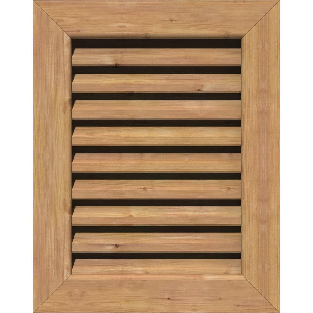 Ekena Millwork 17 in. x 23 in. Smooth Western Red Cedar Functional Gable Vent with Flat Trim Unfinished (12 in. x 18 in. Rough Opening)