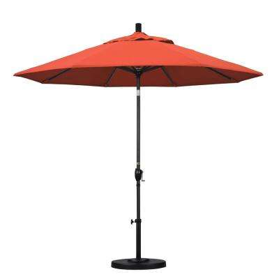 9 ft. Aluminum Push Tilt Patio Umbrella in Sunset Olefin