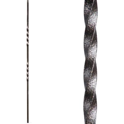 Twist and Basket 44 in. x 0.5 in. Copper Vein Double Twist Solid Wrought Iron Baluster
