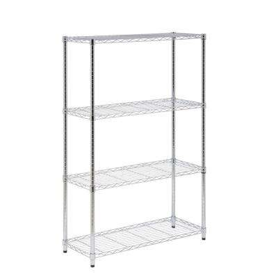 14 in. L x 36 in. W x 54 in. H 4-Tier Steel Shelving Unit in Chrome