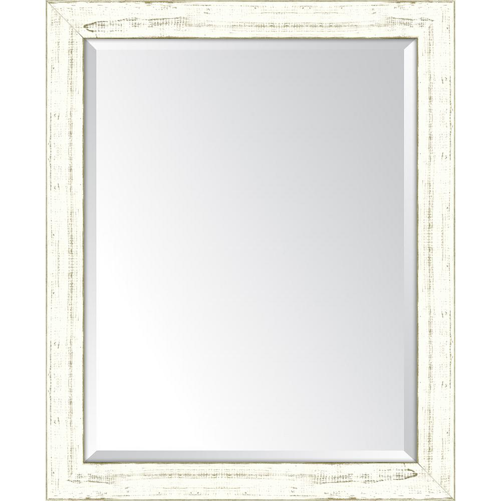 Melissa Van Hise 27 in. x 33 in. Framed French White Large Mirror ...