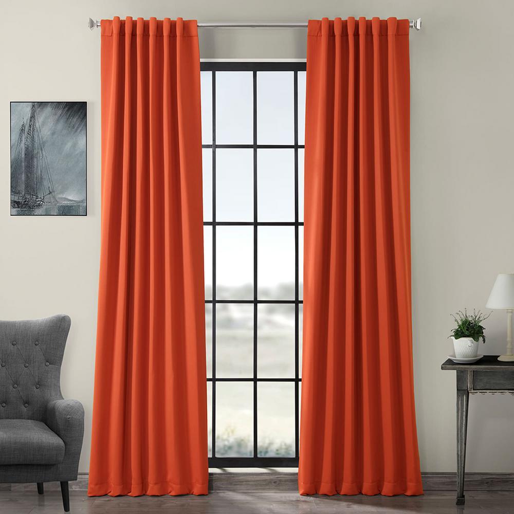 Semi-Opaque Blaze Orange Blackout Curtain - 50 in. W x 108 in. L (Panel)