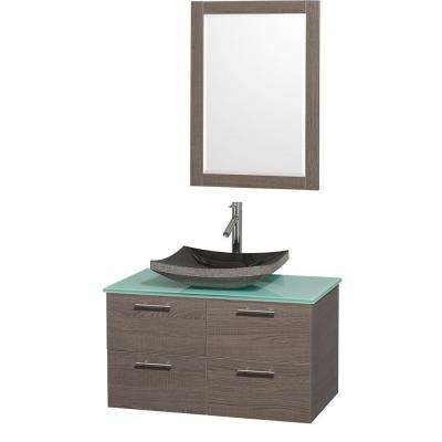 Amare 36 in. Vanity in Grey Oak with Glass Vanity Top in Aqua and Black Granite Sink