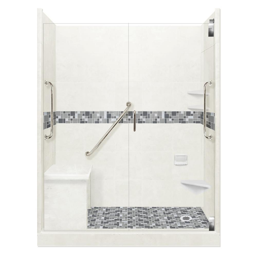 American Bath Factory Newport Freedom Grand Hinged 42 in. x 60 in. x 80 in. Right Drain Alcove Shower Kit in Natural Buff and Chrome Hardware