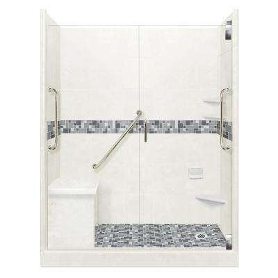 Newport Freedom Grand Hinged 34 in. x 60 in. x 80 in. Right Drain Alcove Shower Kit in Natural Buff and Satin Nickel