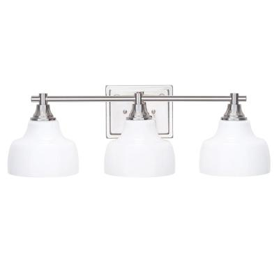 24 in. 3 Light Polished Nickel Vanity Light with White Opal Glass Shades