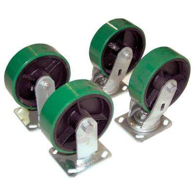 4,800 lb. Capacity 8 in. x 2 in. Poly-On-Steel Caster Kit - Set of 4