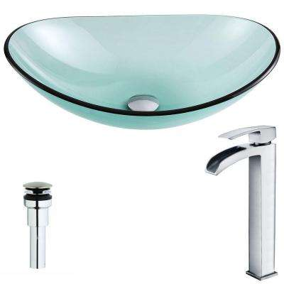 Major Series Deco-Glass Vessel Sink in Lustrous Green with Key Faucet in Polished Chrome