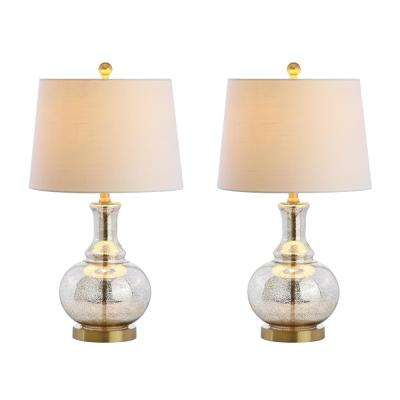 Lavelle 25 in. Mercury Silver/Brass Gold Glass Table Lamp (Set of 2)