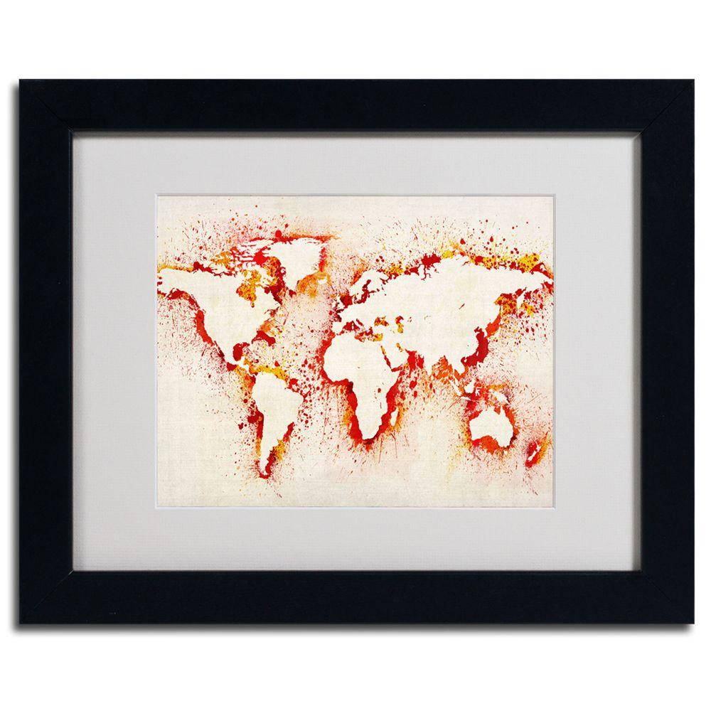 11 in. x 14 in. World Map - Orange Framed Matted Art-MT0007-B1114MF ...