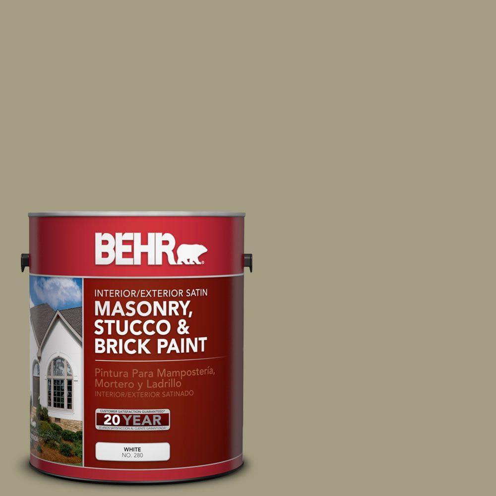 1-gal. #MS-51 Sage Moss Satin Interior/Exterior Masonry, Stucco and Brick Paint