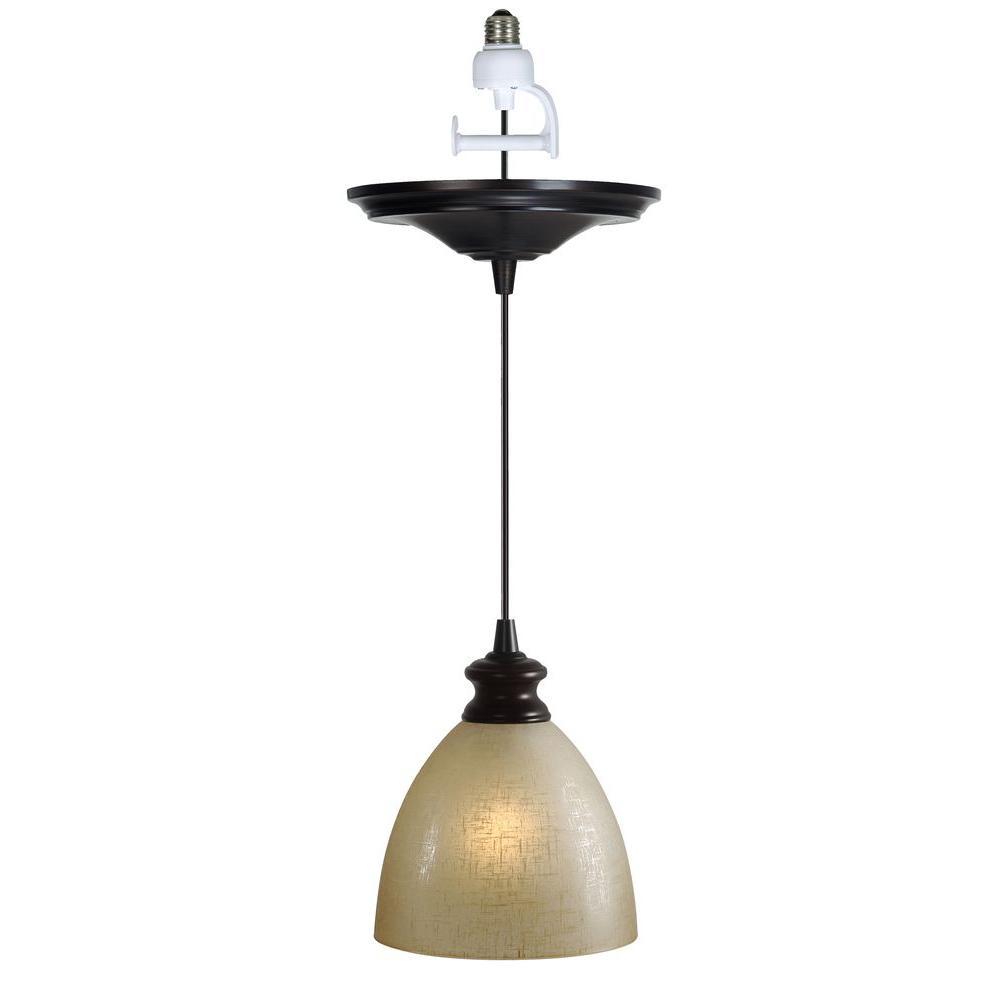 Instant Pendant 1-Light Recessed Light Conversion Kit Brushed Bronze Linen Glass Shade