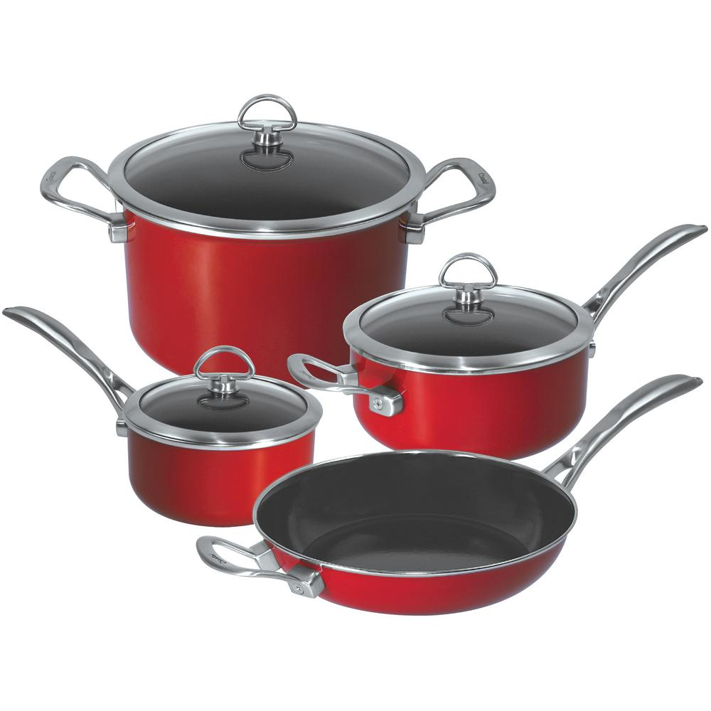 Copper Fusion 7 Piece Cookware Set In Chili Red
