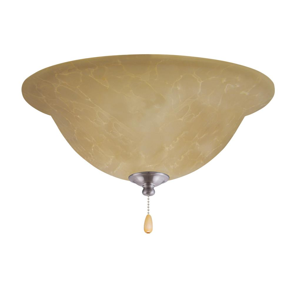Amber Parchment LED Array Brushed Steel Ceiling Fan Light Kit