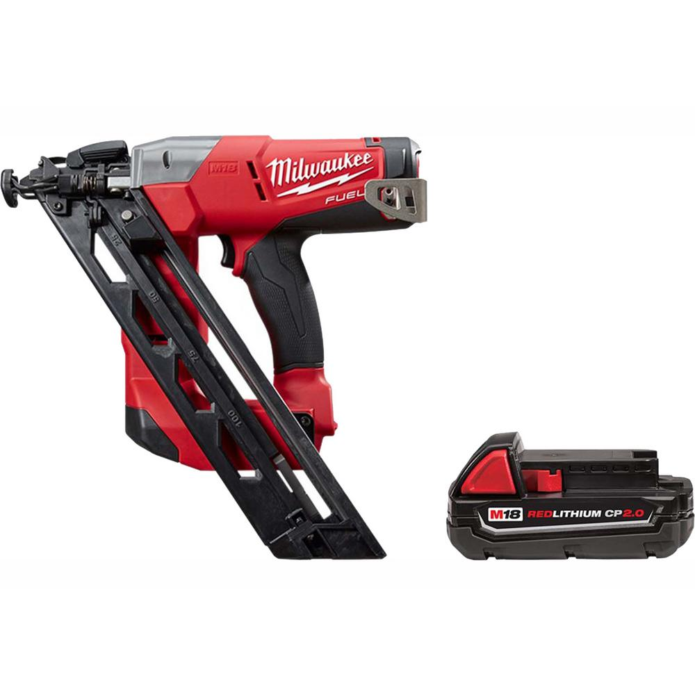 Milwaukee M18 FUEL 18-Volt Lithium-Ion Brushless 15-Gauge Cordless Angled Finish Nailer with Free M18 2.0 Ah Compact Battery