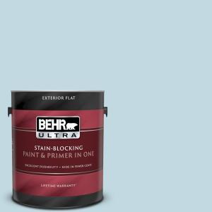 Behr Ultra 1 Gal S480 1 Rain Dance Flat Exterior Paint And Primer In One 485001 The Home Depot