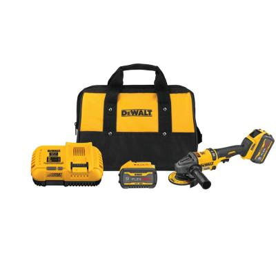 DEWALT FLEXVOLT 60-Volt MAX Lithium-Ion Cordless 4-1/2 inch to 6 inch Small Angle Grinder w/ 2 Batteries 9 Ah, Charger and Bag