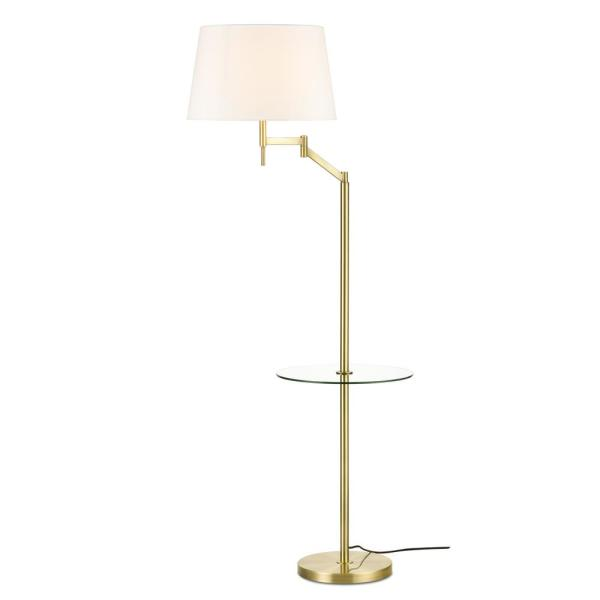 Lisona 62.41 in. Brass/White Tray Table Floor Lamp with Fabric Shade