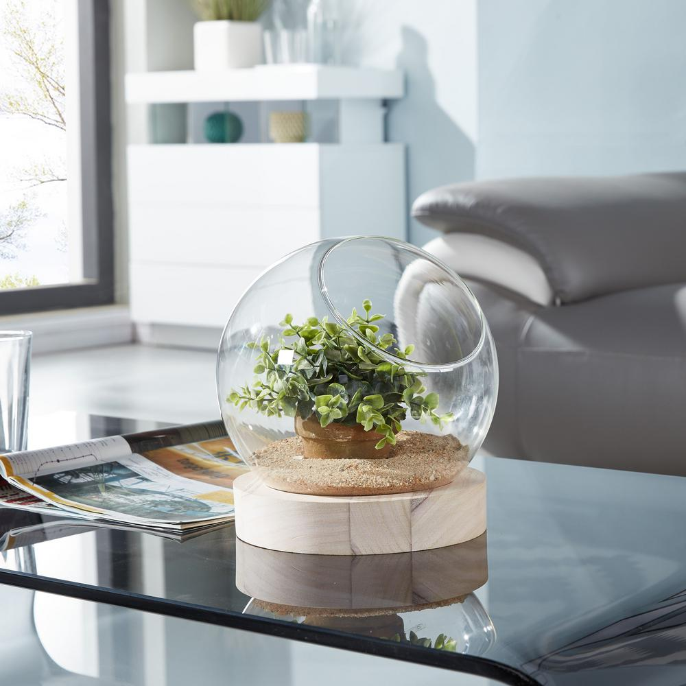 Glass Orb Terrarium - Vase on Wooden Stand, Clear