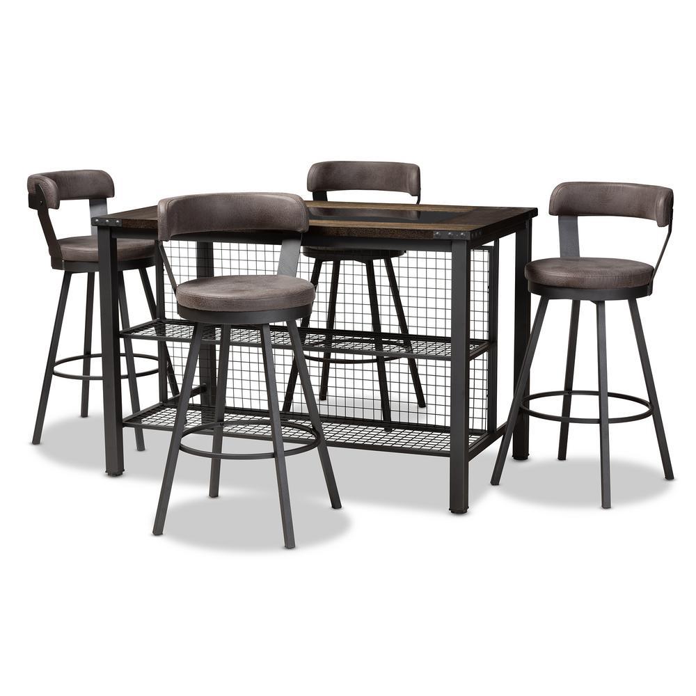 Baxton Studio Arcene 5-Piece Gray Pub Set 149-89698965-HD