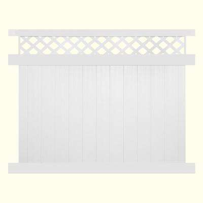 Glenshire 6 ft. H x 8 ft. W White Vinyl Lattice Top Fence Panel Kit