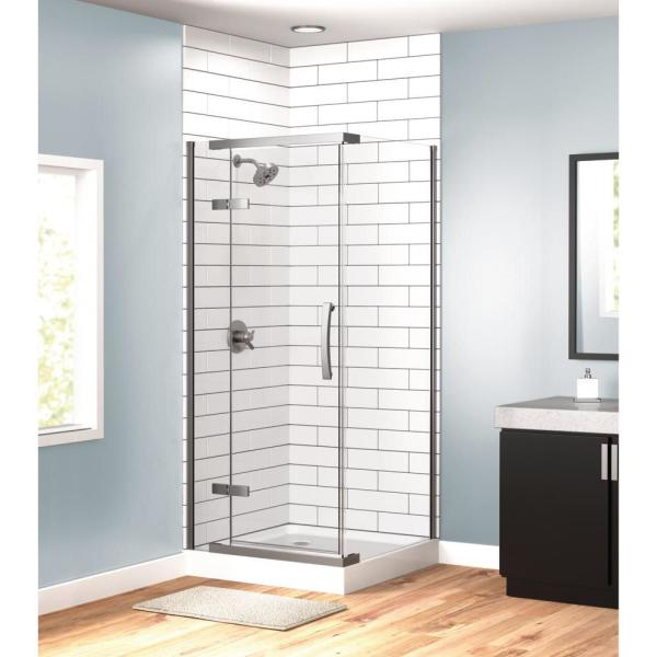 36 in. x 36 in. Frameless Corner Shower with Stainless Steel Shower Door in Clear and ProCrylic Shower Base in White