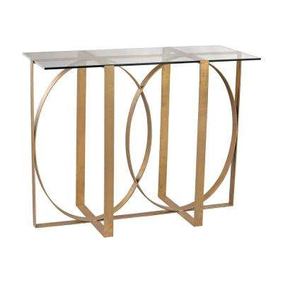 Box Rings Gold Leaf Console Table