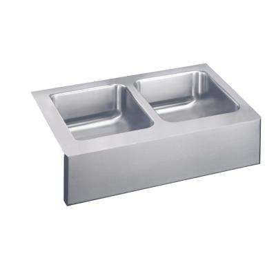 Lustertone Farmhouse Apron Front Stainless Steel 33 in. Double Bowl Kitchen Sink