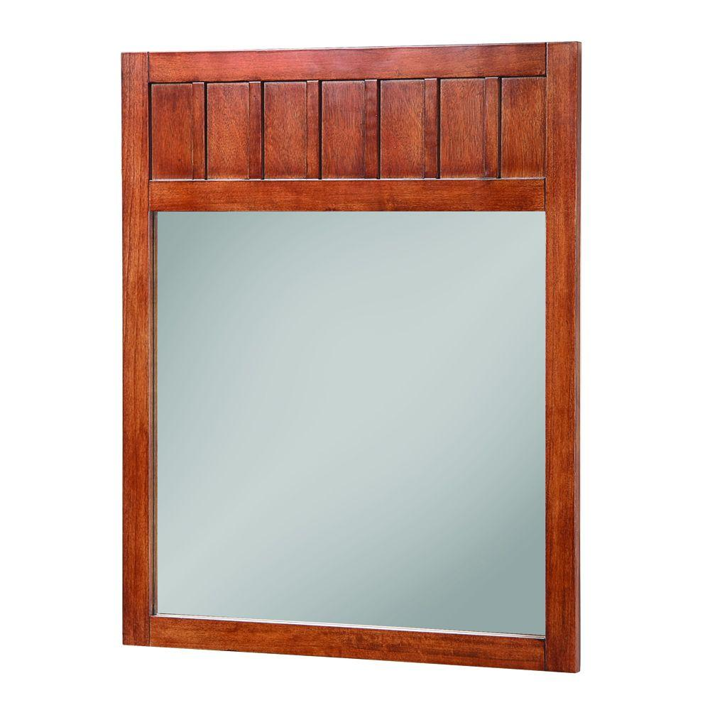 Home Decorators Collection Knoxville 34 in. L x 28 in. W Wall Mirror in Nutmeg