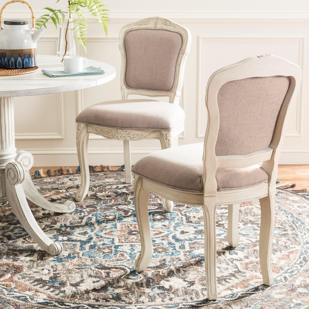 Safavieh Burgess Taupe/Antique Beige French Leg 37 in. H French Brasserie  Upholstered Side - Safavieh Burgess Taupe/Antique Beige French Leg 37 In. H French