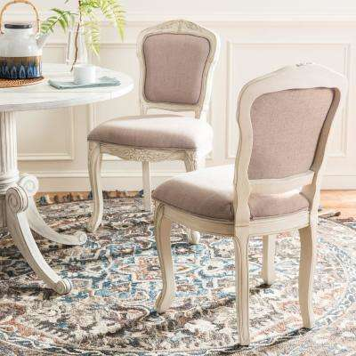 Burgess Taupe/Antique Beige French Leg 37 in. H French Brasserie Upholstered Side Chair (Set of 2)
