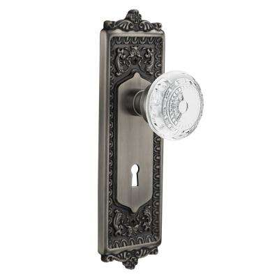 Egg and Dart Plate Interior Mortise Crystal Meadows Door Knob in Antique Pewter