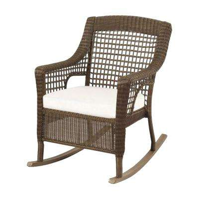Tremendous Spring Haven Grey Wicker Outdoor Patio Rocking Chair With Cushions Included Choose Your Own Color Machost Co Dining Chair Design Ideas Machostcouk