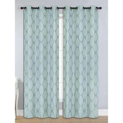 Semi-Opaque Julia Jacquard Room Darkening Grommet Curtain Panel